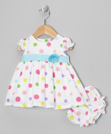 Take a look at this White & Blue Polka Dot Dress & Diaper Cover by Just Too Cute on #zulily today!