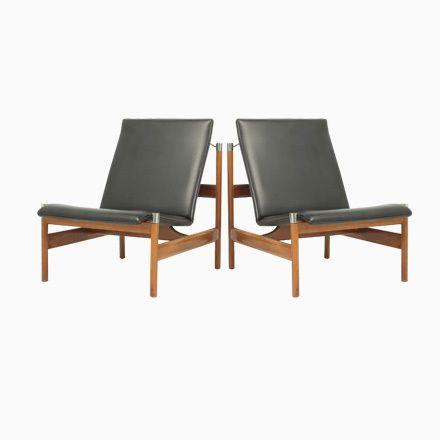 Nussbaum und Vinyl Lounge Stuhl von Sven Ivar Dysthe für Dokka - esszimmer 1950