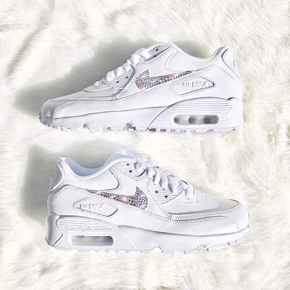 best service ff94d 4050e Luxe Crystal Custom Nike Air Max 90 White Wedding Bridal Shoes