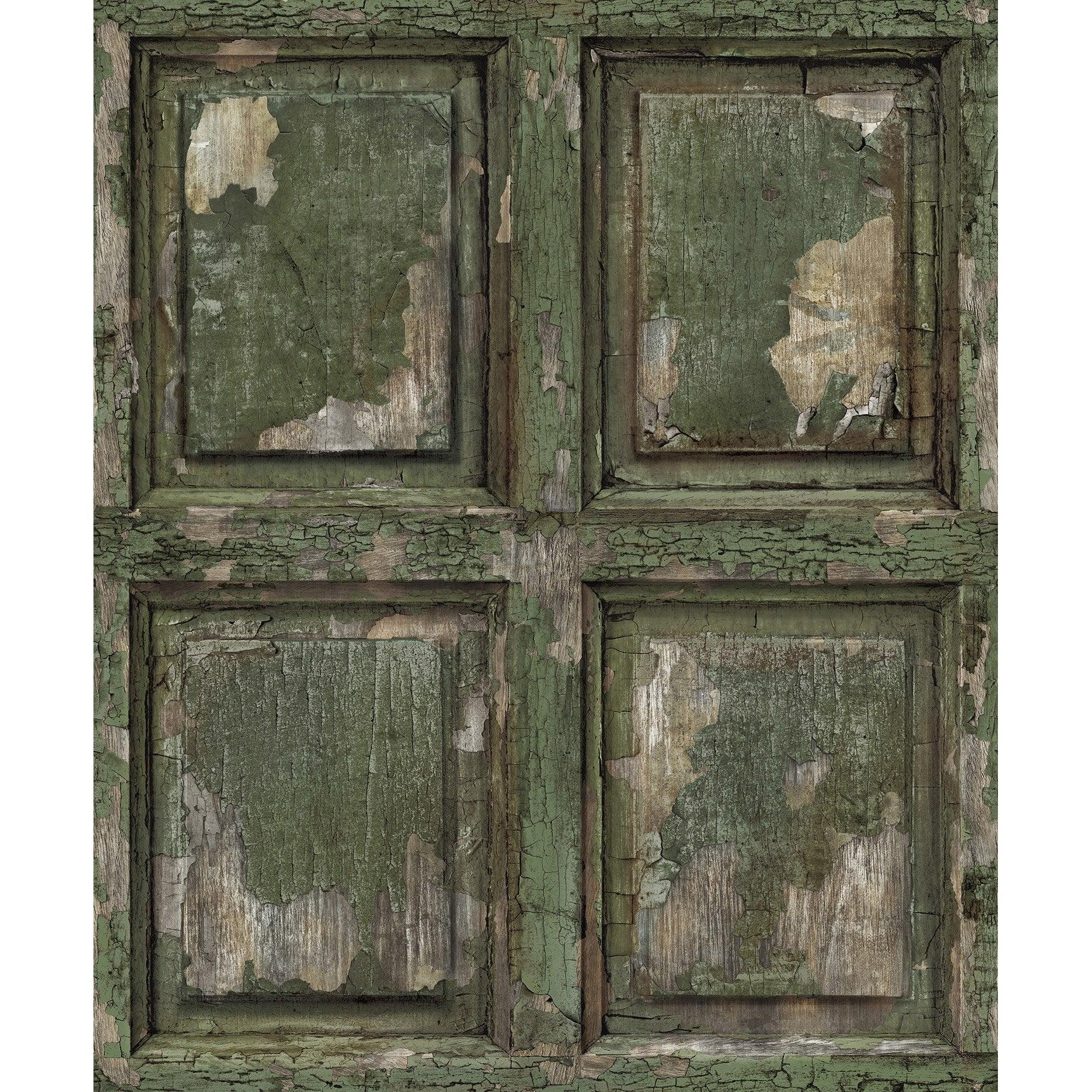 Papier peint intissé BOISERIE ANGLAISE ANTIQUE vert kaki