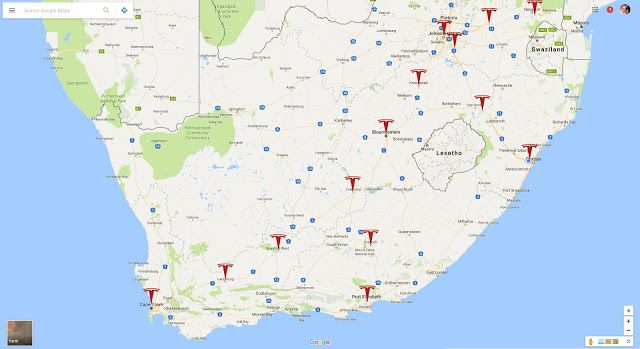 Africa Electric Car: Future South African Tesla Supercharger map ...