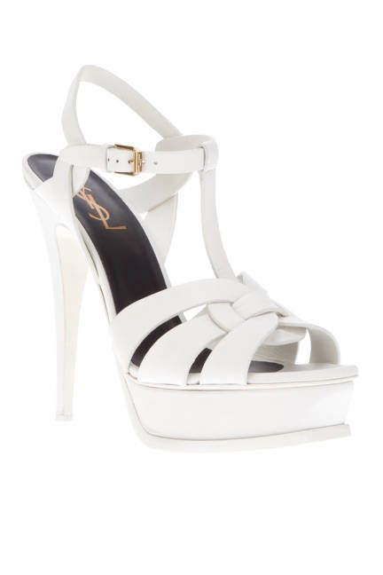 8660c076245 The hottest summer sandals: White Yves Saint Laurent Tribute platforms