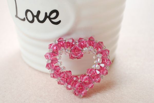 Crochet Jewellery Glass Heart Beads Heart Necklace Naturally Looped