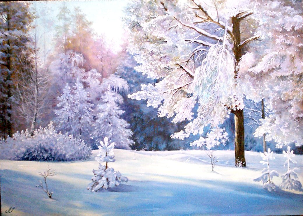 Зимний лес нарисованные картинки для детей
