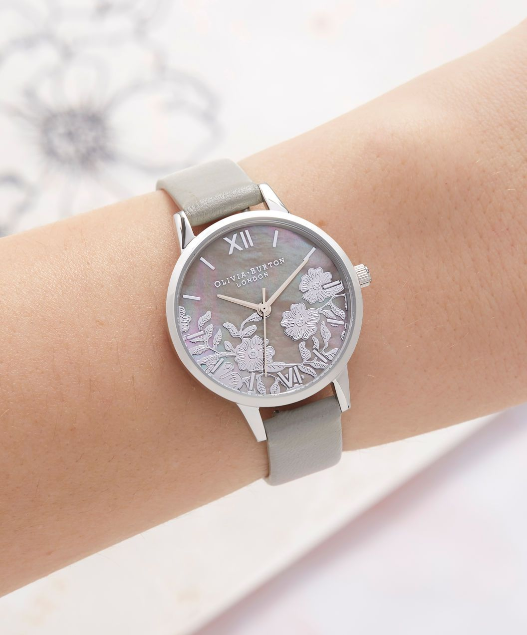 9d755e983 Lace Detail Mother of Pearl Light Grey & Silver in 2019 | Tick Tock ...