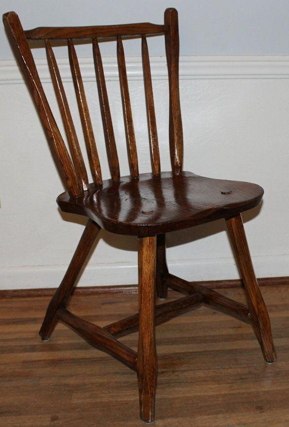 vintage mid century modern hunt country furniture primitive handmade windsor wooden side chair. Black Bedroom Furniture Sets. Home Design Ideas