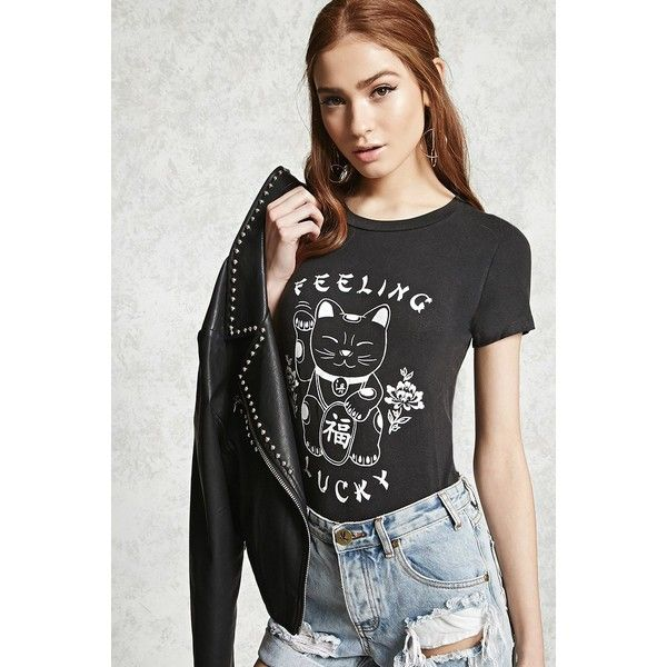 0b6efbe05 Forever21 Feeling Lucky Graphic Tee ($15) ❤ liked on Polyvore featuring tops,  t-shirts, short sleeve tops, forever 21 tops, graphic design t shirts, ...