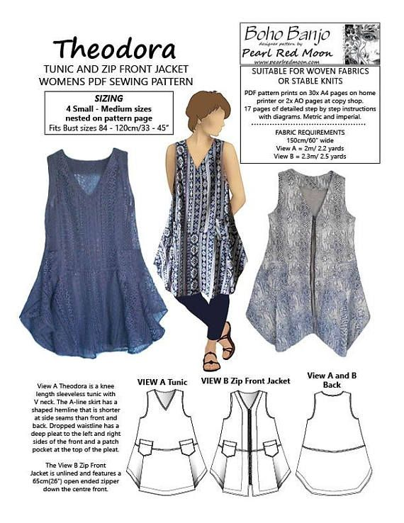 Theodora Tunic and Jacket PDF PATTERN, Med - Small sizes | patterns ...