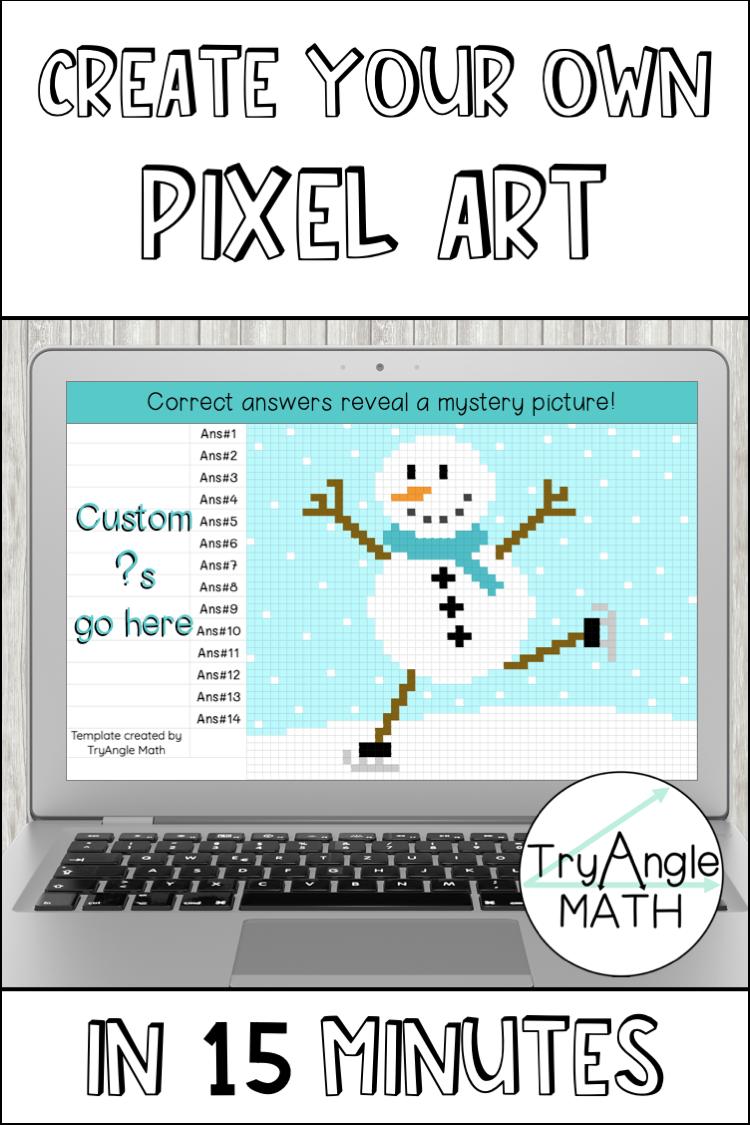 Diy Digital Pixel Art Winter Snowman Pixel Art Secondary Math Classroom Pixel [ 1125 x 750 Pixel ]