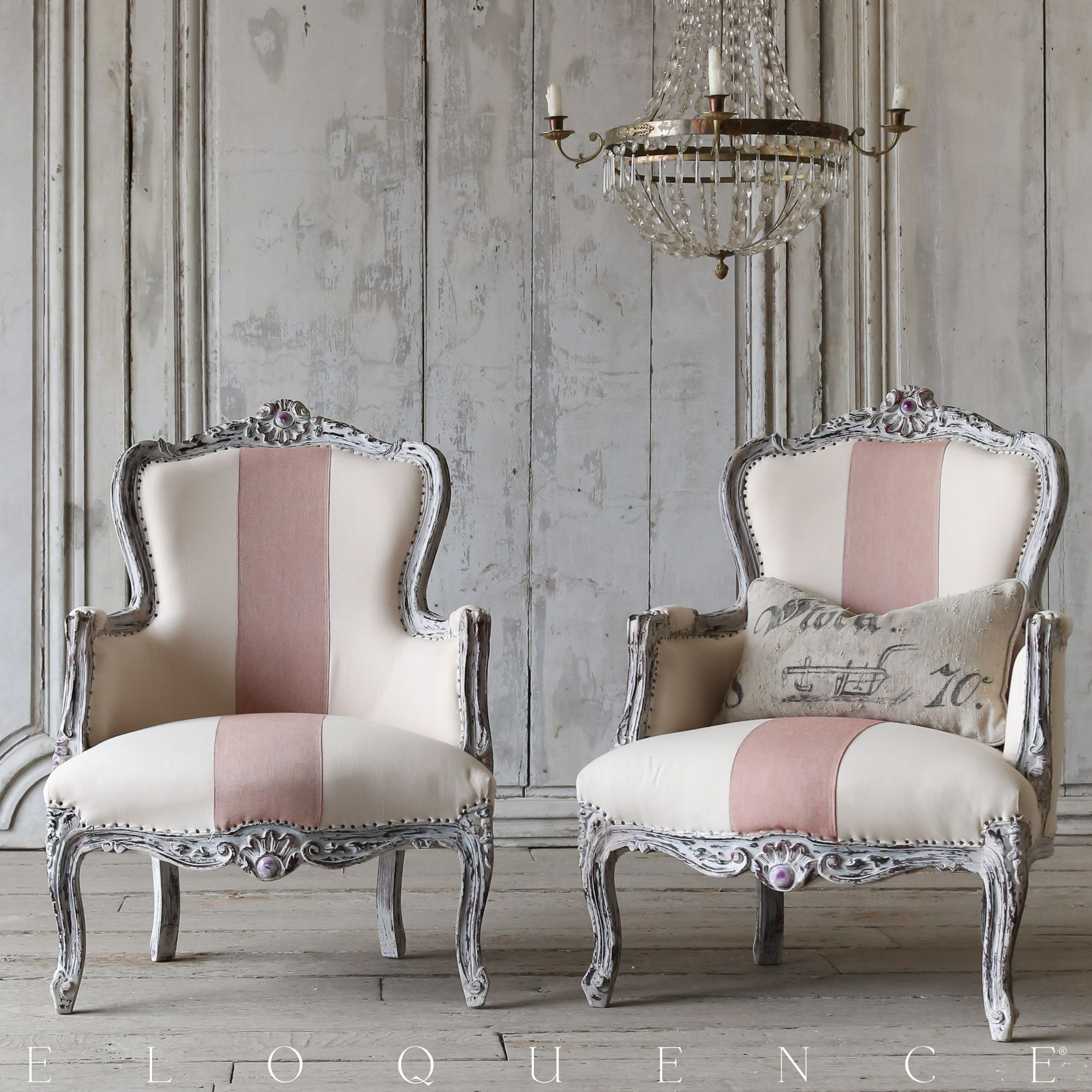 Eloquence vintage bergere 39 s in a distressed washed grey for Sedie svedesi design