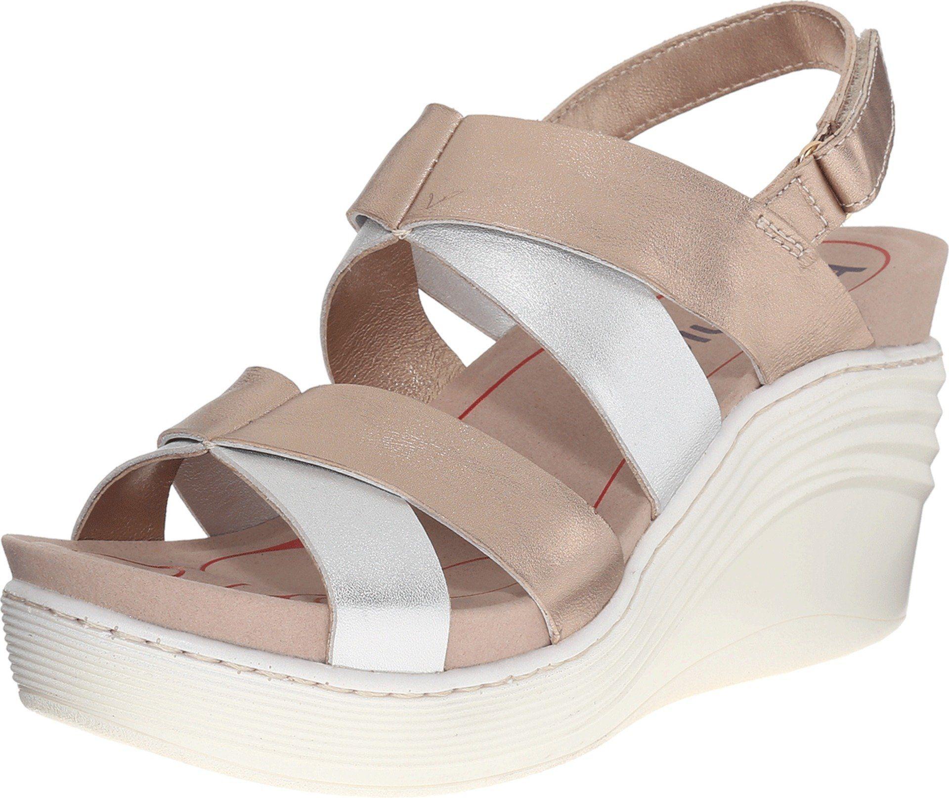 Bionica Women's Splendor Gold/Silver Sandal 9 B (M). Weight: 9.6