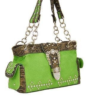 Lime Green Western Buckle Purse With Rhinestones