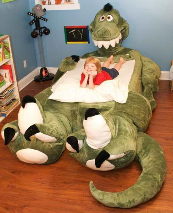 This is a first - I've never seen a stuffed animal and bed merged into one thing.