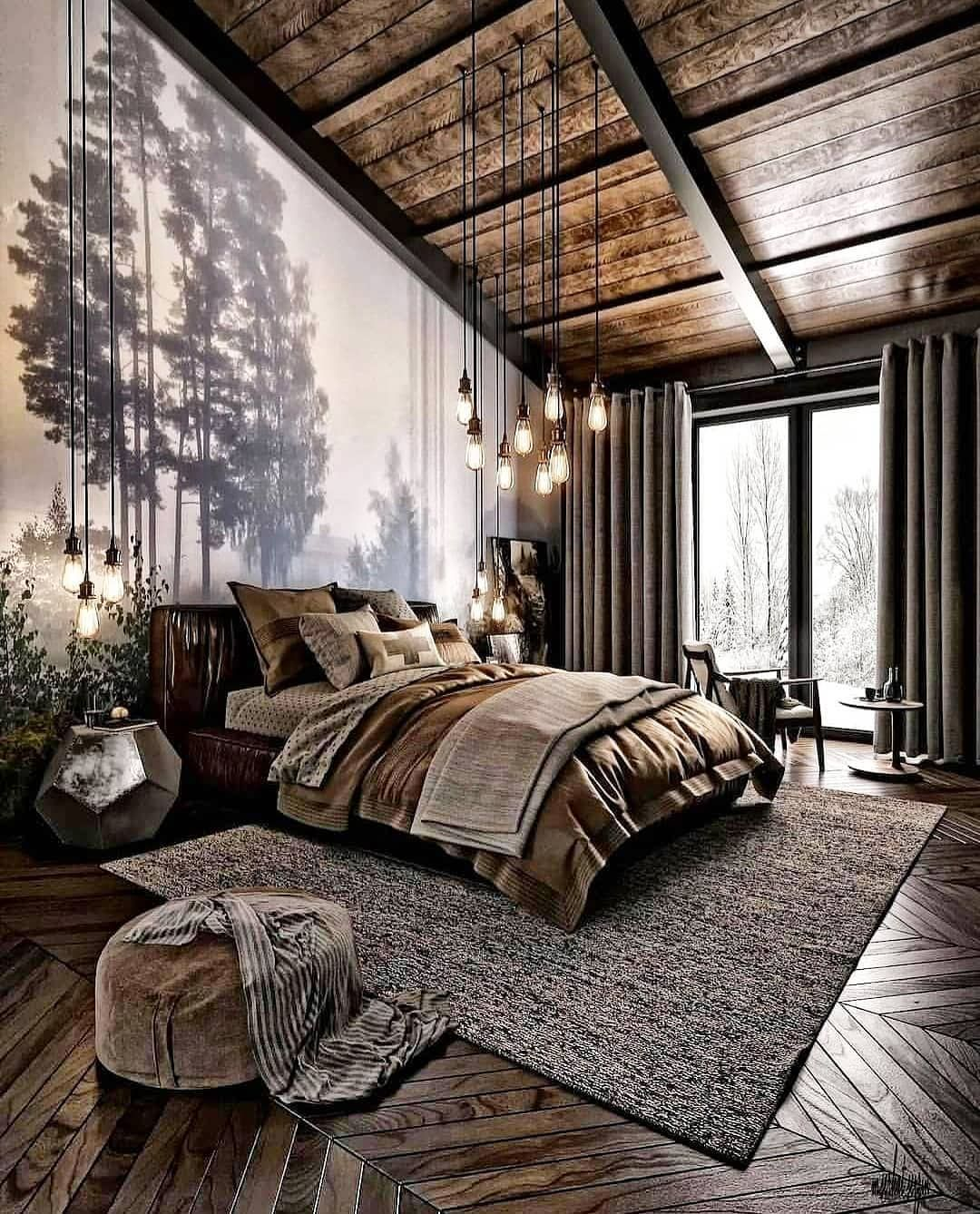 """LAVISH INTERIORS on Instagram: """"LOFT inspired bedroom for cold places.🤧😍😍 _ _ What do you think about this interior blend. Comment down below if you love this. 👇🏻👇🏻👇🏻 _ _…"""""""