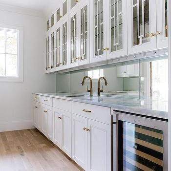 Glass Butler Pantry Cabinets With Gold Hexagon Knobs  Kitchen Fascinating Kitchen Knobs Inspiration