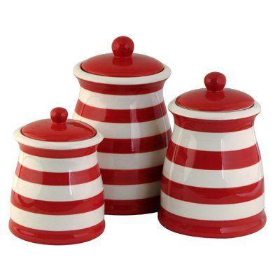 Flag Striped Kitchen Canisters | Red, white kitchen, Red ...