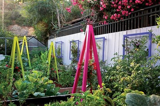 TerraTrellis' Akoris Garden Tuteurs and Ina Wall Trellises add order and drama to an organic vegetable garden at a home in the Highland Park section of Los Angeles. Photo by Lauren Devon.