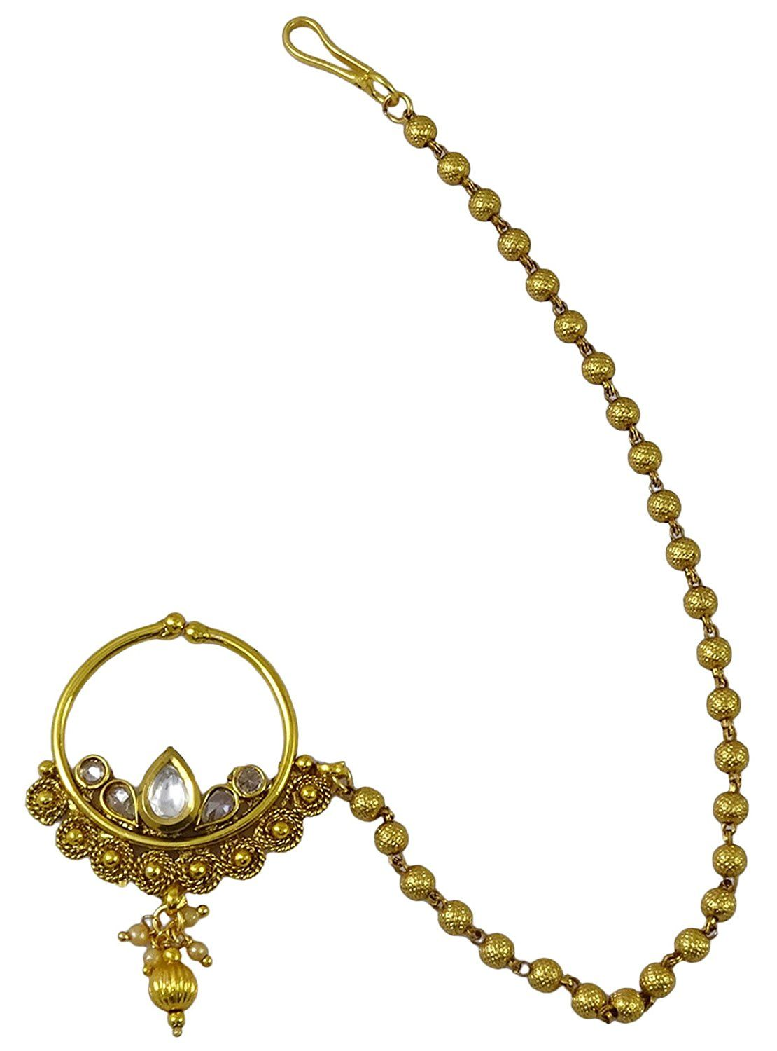 Bridal & Wedding Party Jewelry Indian Gold Tone Non Pierce Nose Ring White Kundan Cz Nath Traditional Jewelry