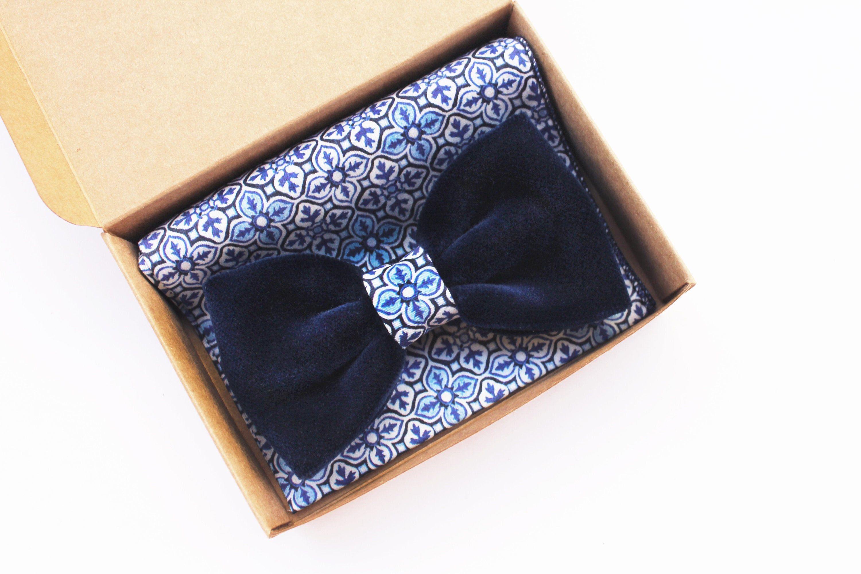 Papillon velluto blu notte e maiolica,per uomo elegante,cerimonia
