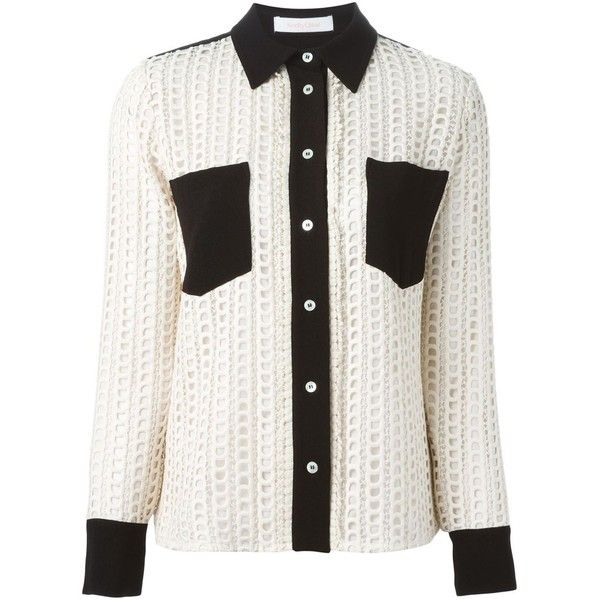 03f6d139 See By Chloé Embroidered Lace Panel Shirt ($416) ❤ liked on ...
