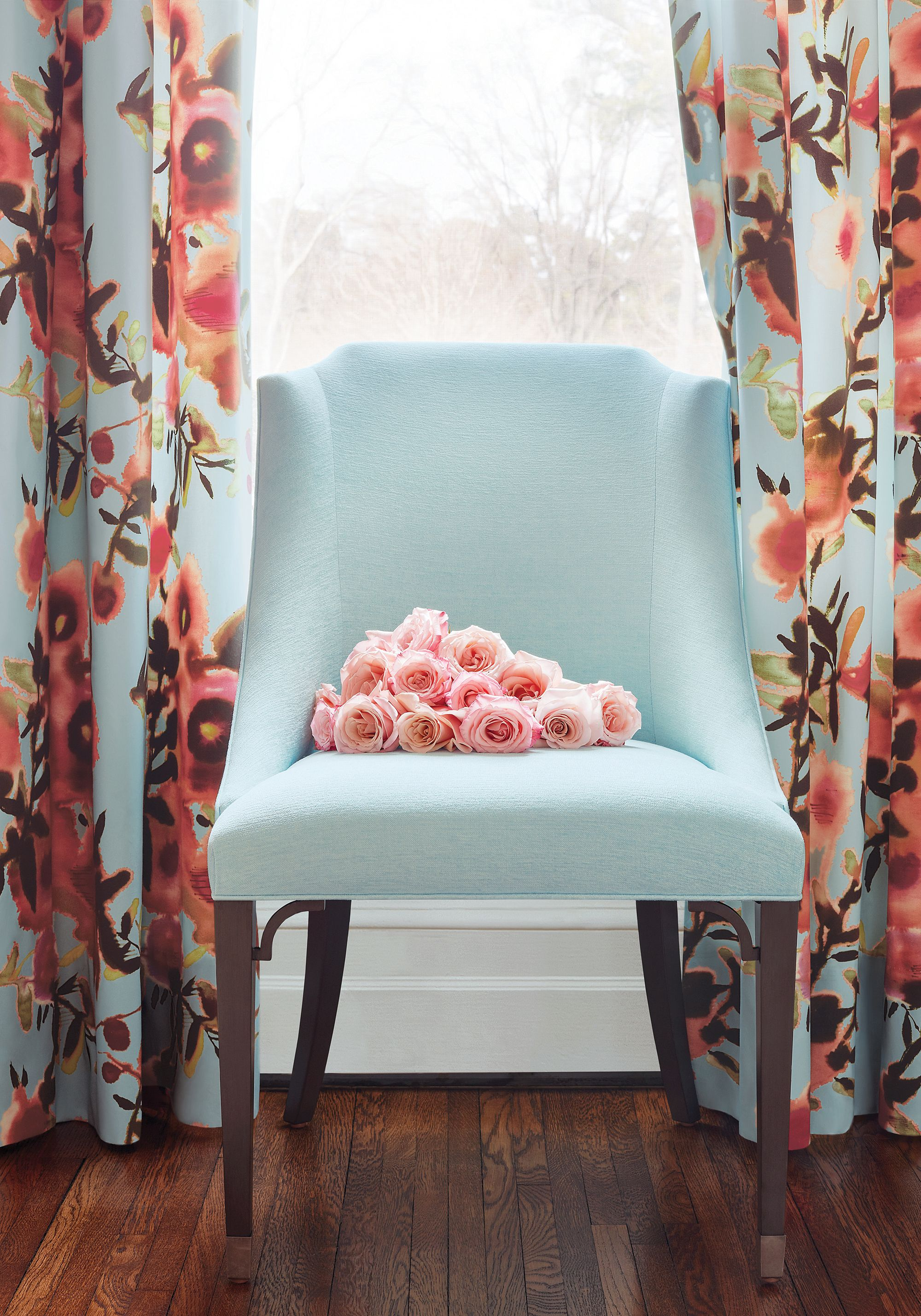 Bailey Chair In Aura Woven Fabric In Aqua From Thibaut Fine Furniture