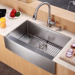 Kraus 30 Inch Farmhouse Apron Single Bowl Stainless Steel Kitchen Sink 430 Farmhouse Sink Kitchen Single Bowl Kitchen Sink Sink