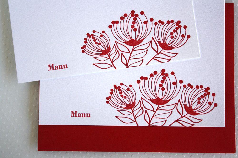 Personalized Letterpress Hawaii Lehua Blossom Stationery