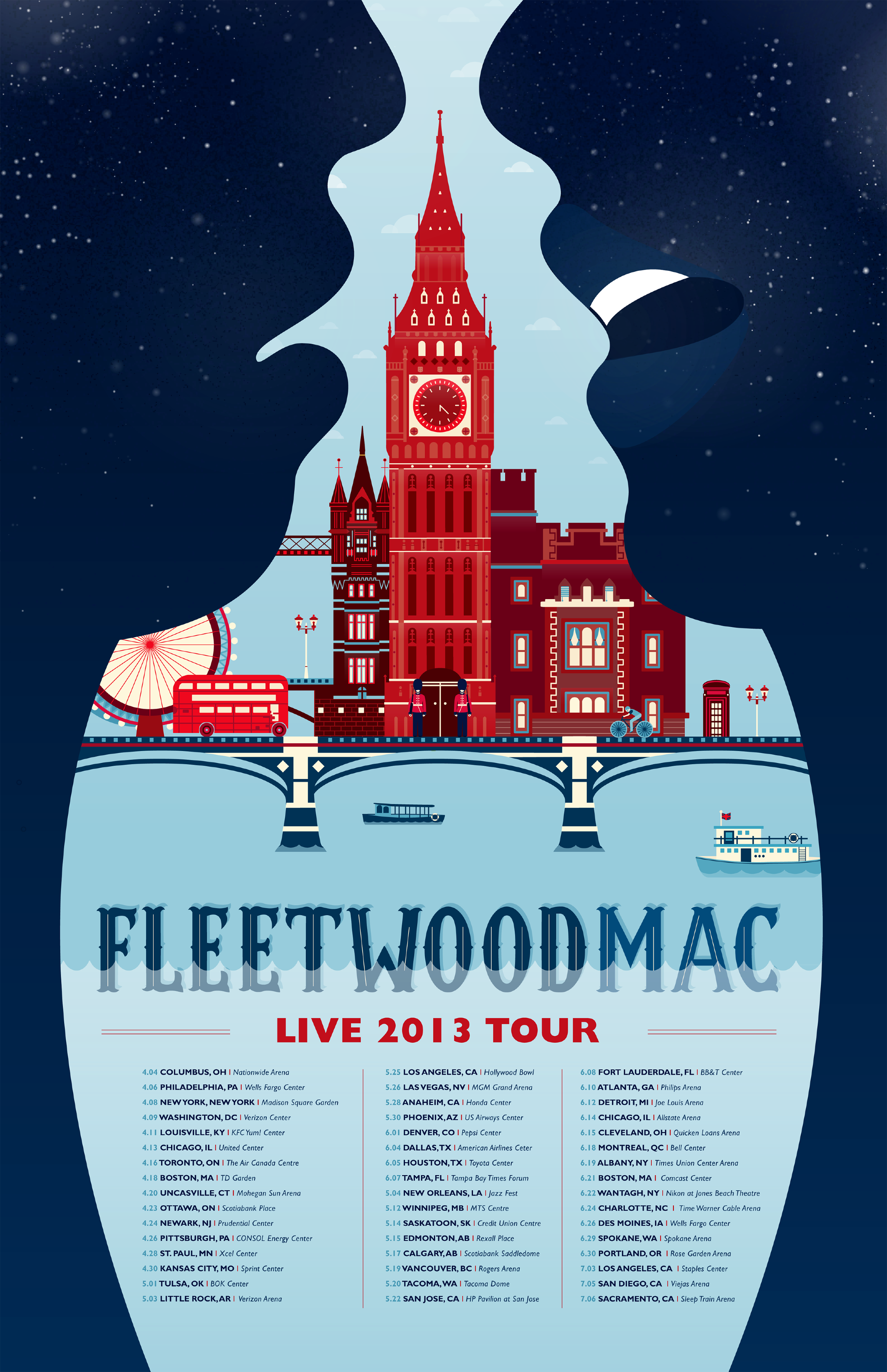 Concert Poster for FleetwoodMac, designed based on their