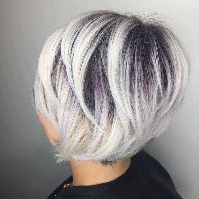 Dark Roots And Platinum Grey Tone Ash Blonde Hair Colour Hair Styles Bob Hairstyles For Fine Hair