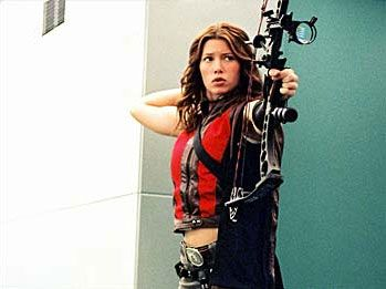 Abigail Whistler (Jessica Biel) in Blade 3, so buff and wielding a bow