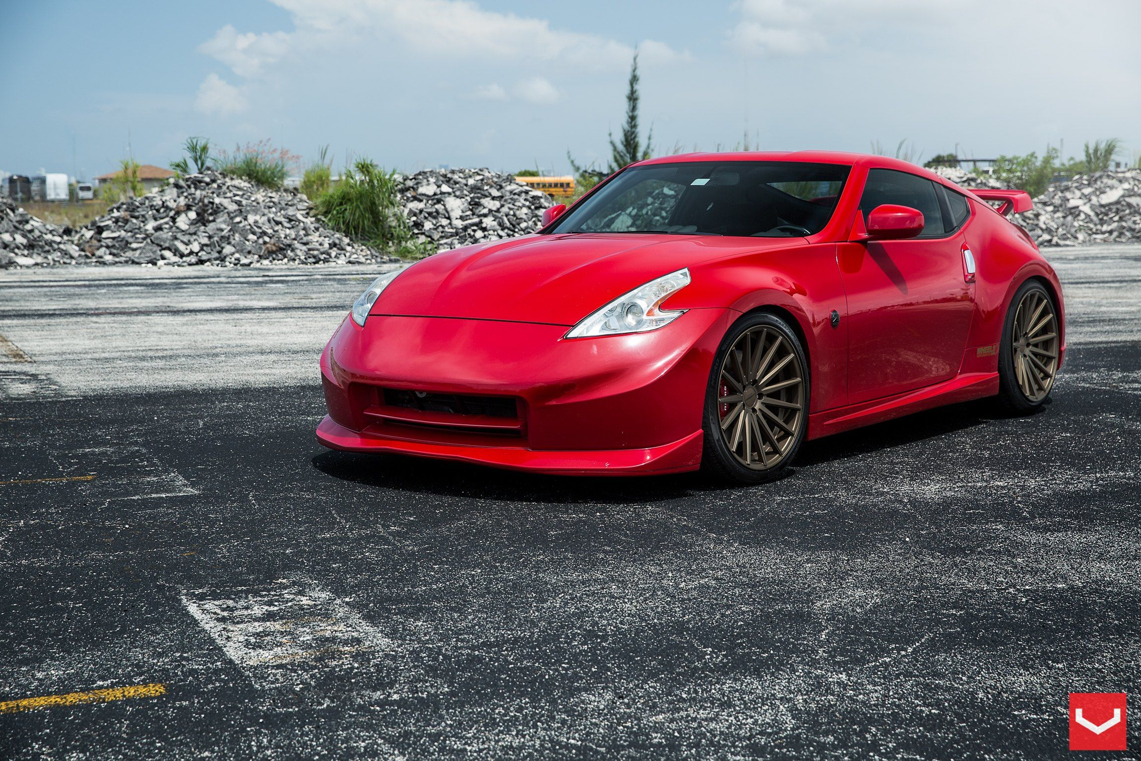 Stanced Red Nissan 370Z on 20 Inch VFS Concave Vossen Rims