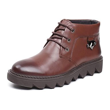 Leather Men's Flat Heel Comfort Ankel Fashion Boots With Lace-up(More Colors)