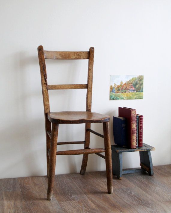 Antique Church Chair - Old Wooden Chair from Church in Staffordshire,  England - Salvage, Reclaimed - Antique Church Chair - Old Wooden Chair From Church In Staffordshire
