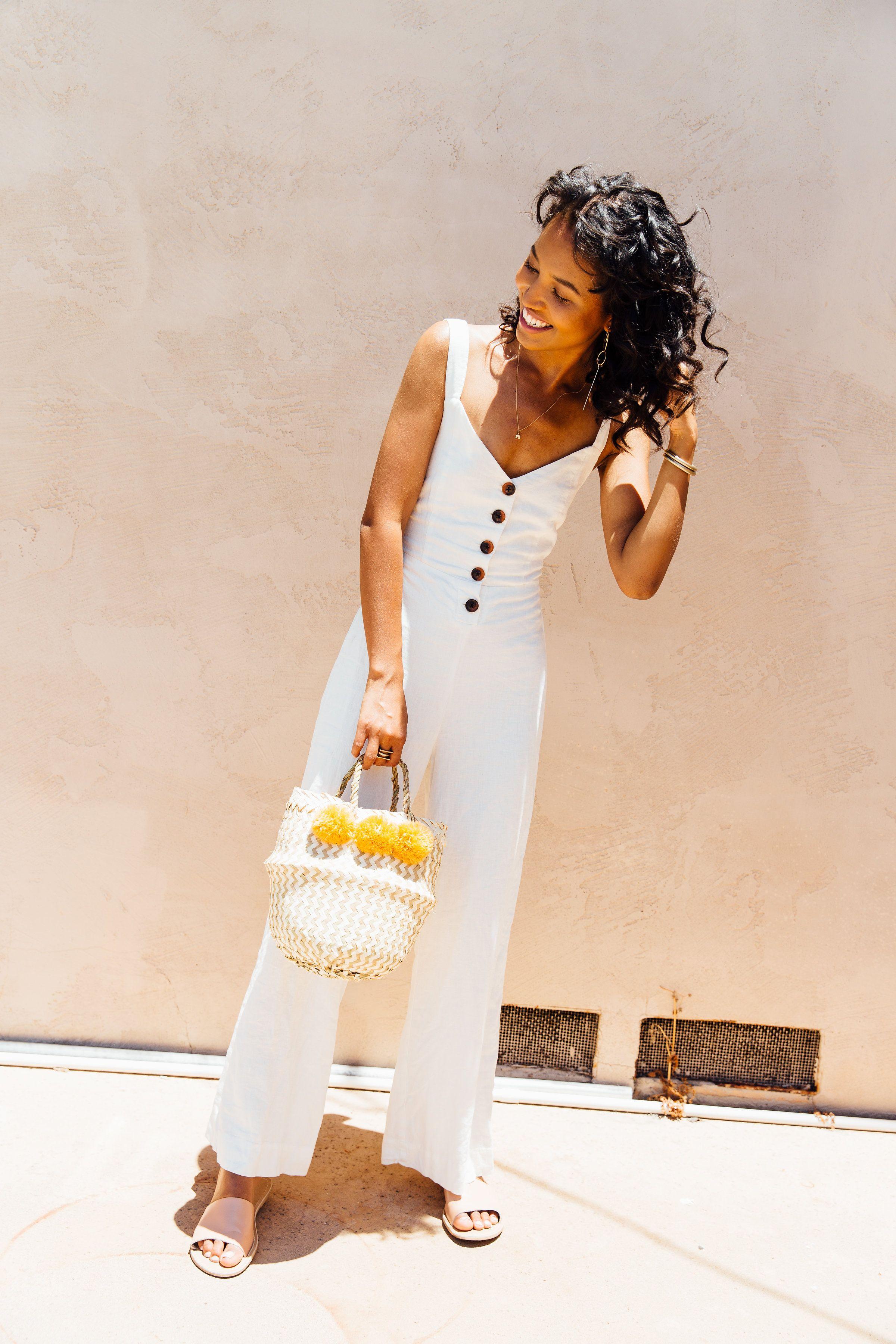 3b0827595b28 summer outfit inspiration // linen jumpsuit // white outfit ideas // labor  day outfit inspiration // easy summer outfits // straw basket