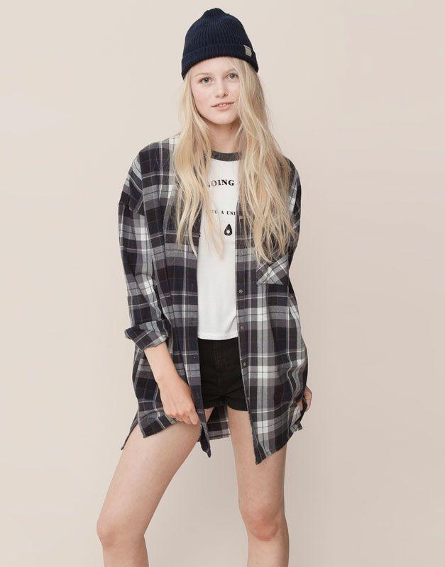 Pull&Bear - woman - blouses and shirts - long checked shirt - steel - 09471344-I2015