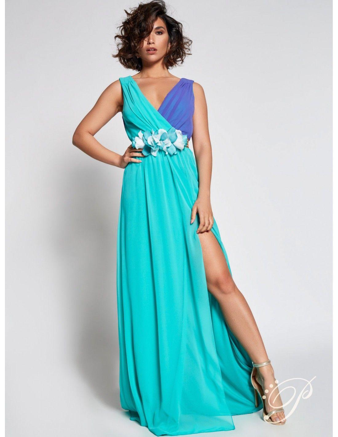 9ef1935bb Vestido Lena - Vestido de gasa bicolor en agua marina y azul. Escote en V