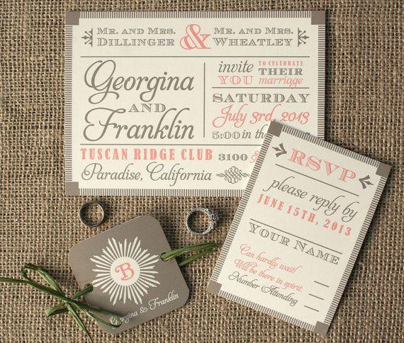 Modern Vintage Wood Block Fonts Wedding By