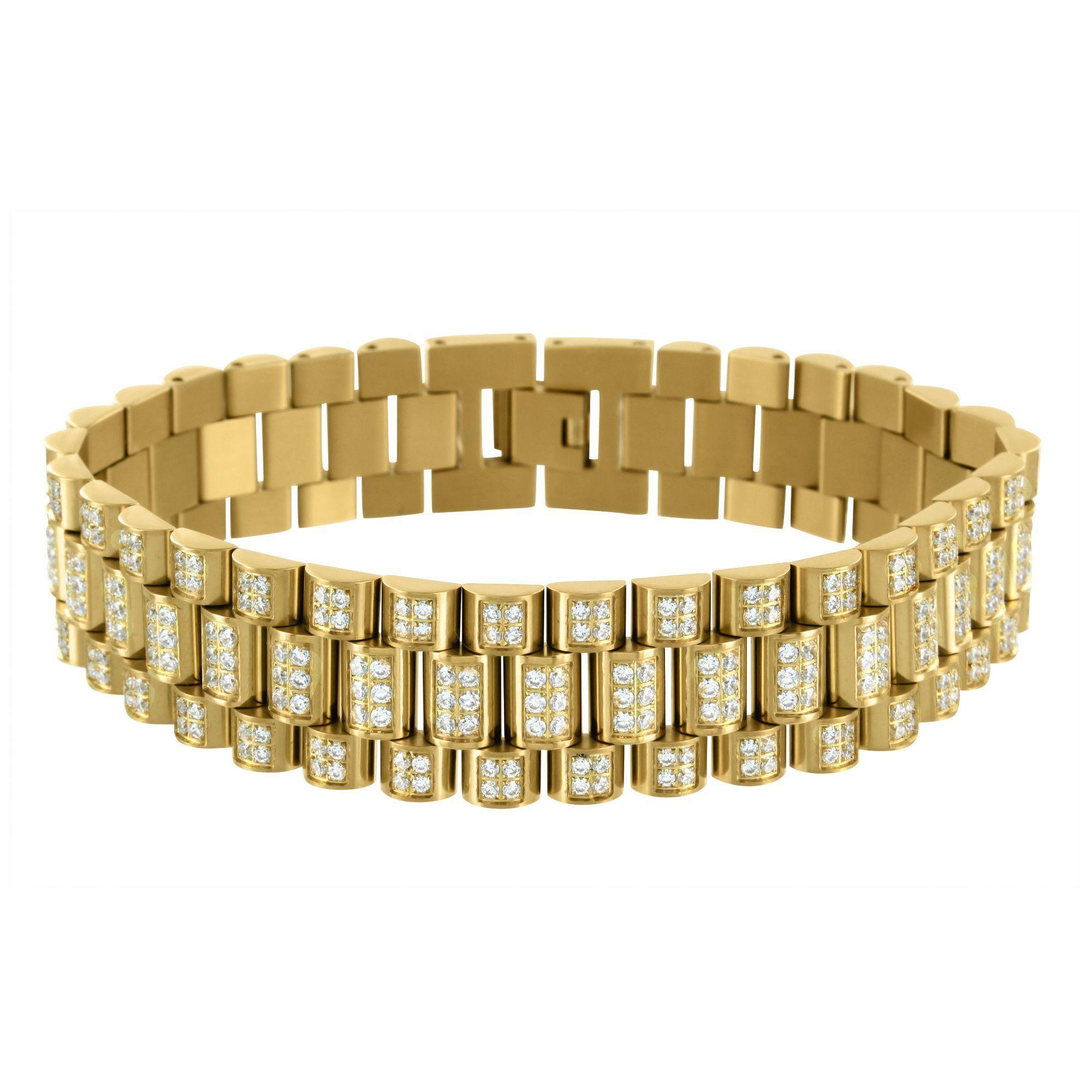 Allurez Polished and Textured Fine Fashion Link Bracelet 14k Two-Tone Gold