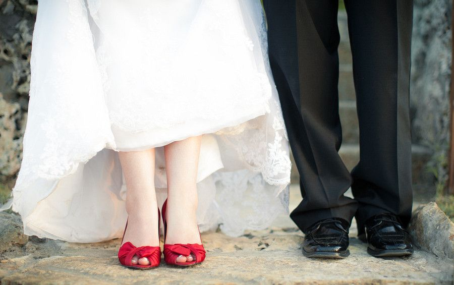 Wedding photography, bride and groom's shoes
