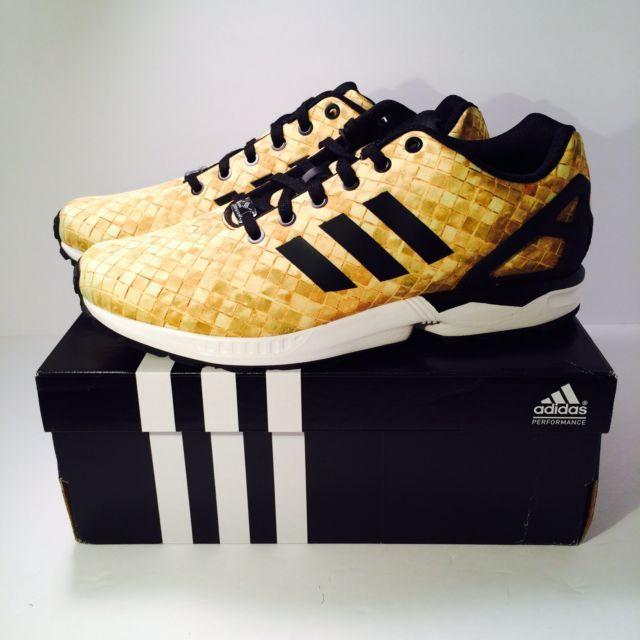 f254788396abe Men s Adidas Originals ZX Flux Black Gold White S76450 Size 10.5 in ...