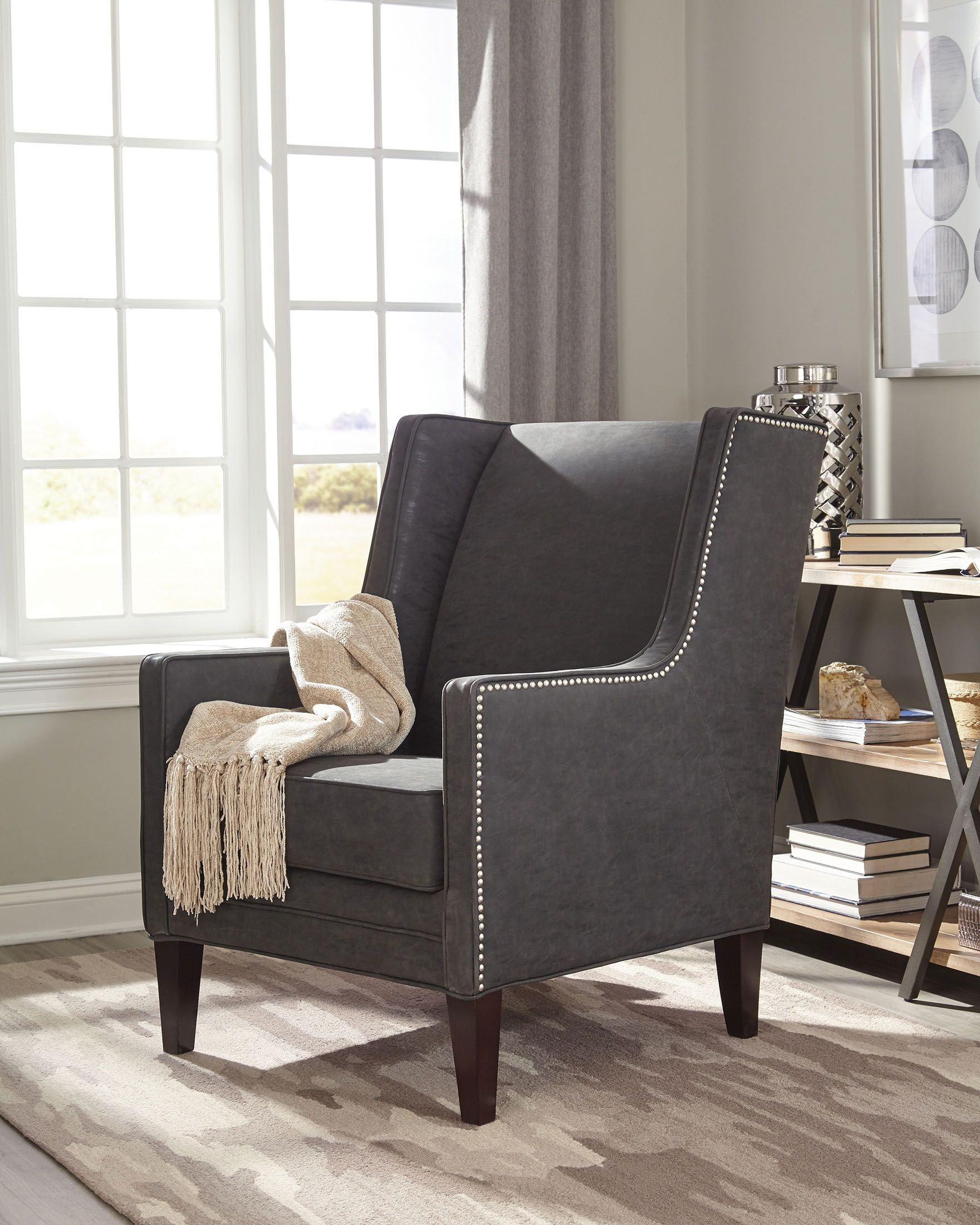 Best Donny Osmond Home 902988 Charcoal Fabric Accent Chair 640 x 480
