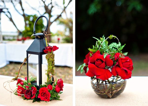Red rose accents to unique centerpieces  #floralcenterpiece #unique
