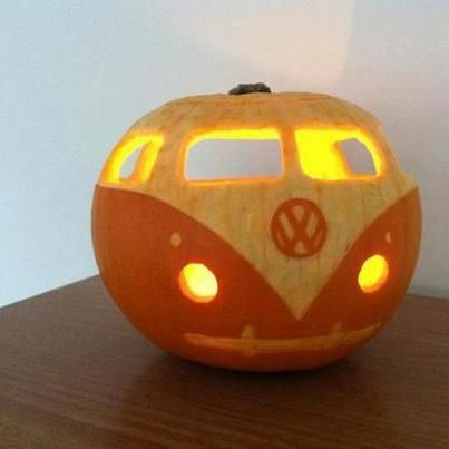 Pumpkin VW bug! Adorbs... wide body model. BOOO !! Happy Halloween from House of Insurance in Eugene, Oregon
