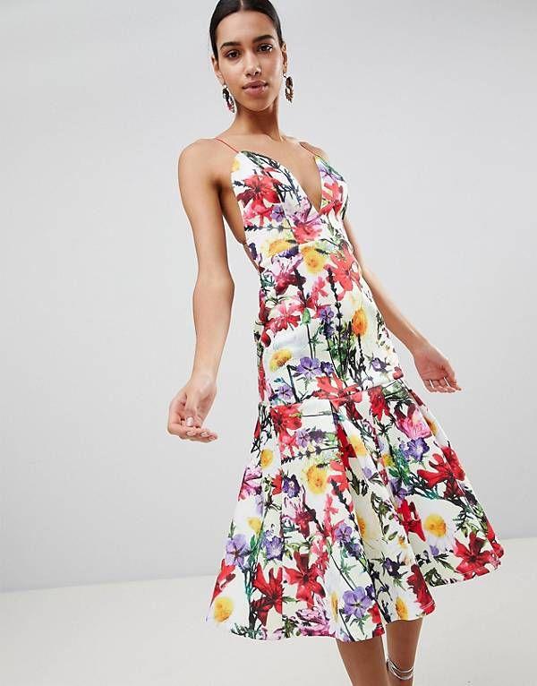 Vestido de graduación de neopreno con cintura caída y estampado floral de  ASOS Premium