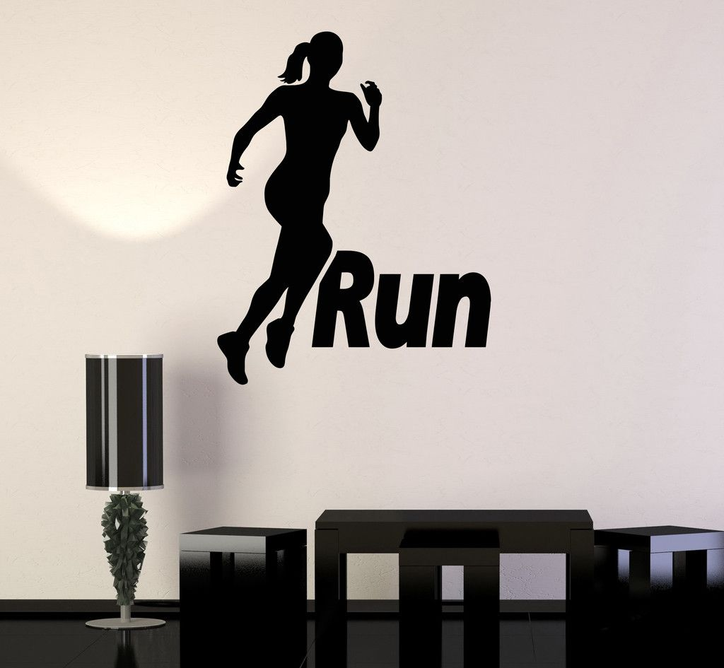 Vinyl Wall Stickers Run Running Girl Woman Sport Motivation Decal Mural  (187ig) Part 43
