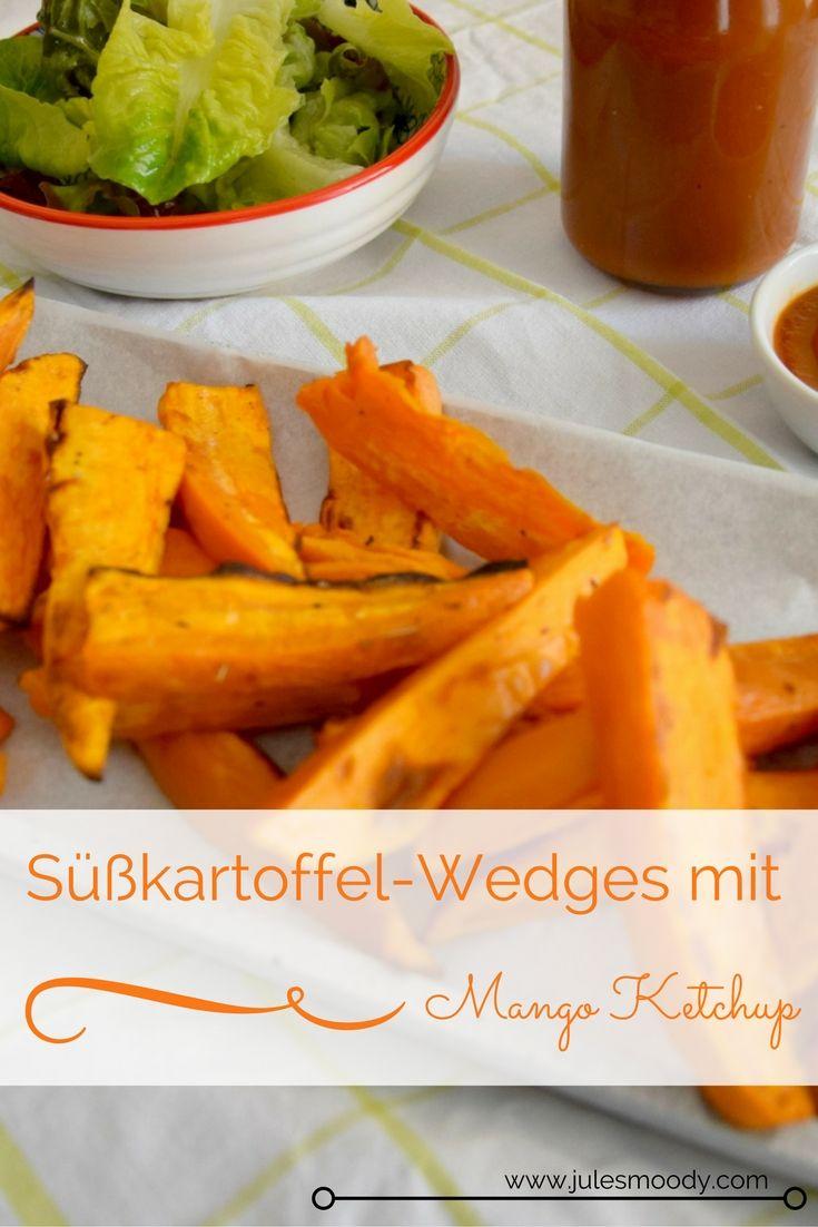 Diese Kombination wirkt Stress entgegen: Süßkartoffel-Wedges und Mango Ketchup. Soulfood pur, gesund und lecker!