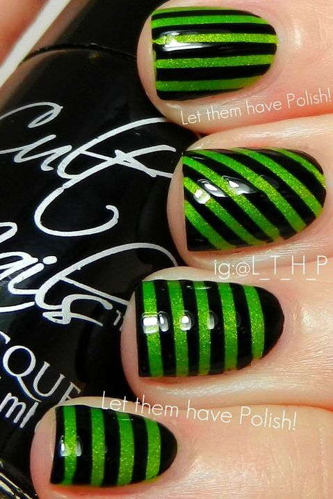 Black Green Striped Nails Would Be Cute On Just One Nail Then The Rest In Black Striped Nails Green Nail Art Halloween Nails