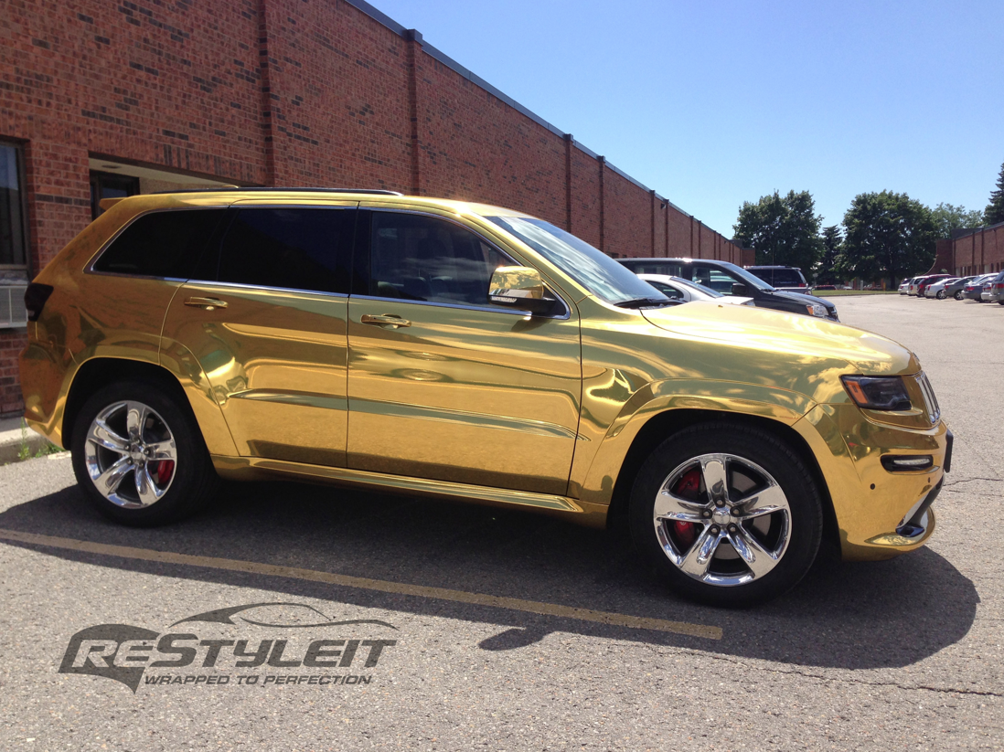 2014 jeep grand cherokee srt8 wrapped in gold chrome photo gallery_7 png paint job pinterest