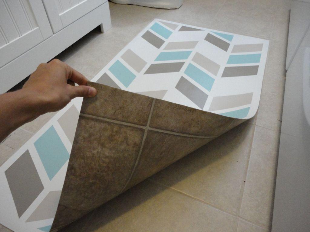 Herringbone Inspired Mat Diy Flooring Painted Vinyl