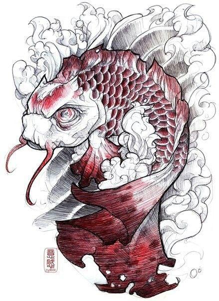 Evil koi | Bocetos, Bocetos tatuajes, Tatuajes japoneses
